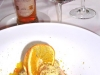 piatto dedicato ad Assaggi di Teatro: dolce Mediterraneo di arancia, ricotta e pistacchio