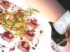 Assaggi di Teatro: ventresca di tonno con foie gras ai fichi e puntarelle con aceto di Marsala e  Sa Perda Bianca Feudi della Medusa