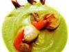 Assaggi di Teatro: vellutata di broccolo romano con cappesante, acciughe di Cetara e pomodoro