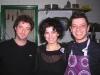 Assaggi di Teatro nella cucina di Acquolina: da destra, lo chef di Acquolina Giulio Terrinoni, la giornalista Maria Luisa Basile, lo chef del Convivio Troiani Angelo Troiani