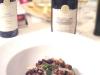Assaggi di Teatro: pappardelle al nero di seppia con ragù di cinghiale, pere al vino rosso, pecorino e vini Feudi della Medusa