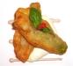 Assaggi di Teatro: fiori di zucca su crema di alici, mozzarella di bufala e sorbetto agrodolce piccante di peperone