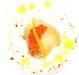 Assaggi di teatro: ovetto di quaglia in pastella con burrata e uova di trota