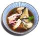 Assaggi di Teatro: Vietnam, ostrica, calamaro, cubetto di vitella, carciofo e verdure in consommè speziato