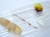 Assaggi di Teatro: ricciola affumicata, cannella, arancia su patata viola e salsa di yougurt con erba cipollina