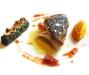 Assaggi di Teatro: Merluzzo nero, arance candite, quenelle di carota e cannolo di spinaci con nocciola tonda gentile piemontese