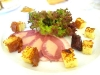 Petto d'anatra farcito al foie gras con gelatina al Moscato, fico caramellato e pan brioche - Casot, Castell'Alfero, Piemonte
