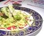 Assaggi di Teatro: Polpette di pesce, bastoncini di zucchine, salvia pastellata e fritta, cous cous, crema di barbabietola